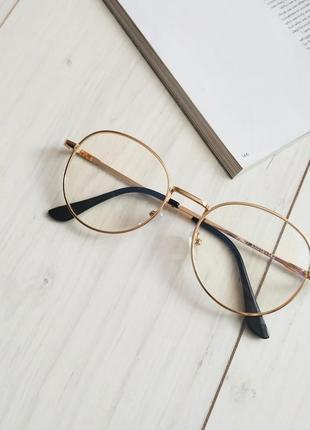Очки компьютерные в золотой оправе, имиджевые очки с антибликовым напылением