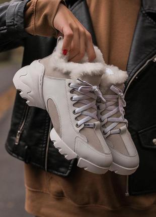Luxury fur white на меху 🍏 зимние женские кроссовки