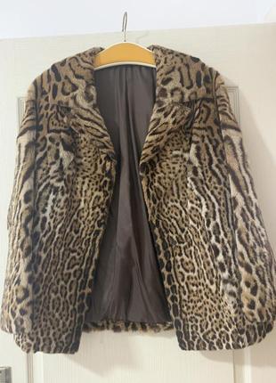 Автоледи шуба полу шубок меховой пиджак пальто оцелот леопард винтаж