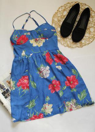 Легкий летний сарафан платье в принт цветы