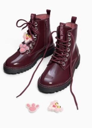 Ботинки zara для девочки. размер 37 розовая пантера