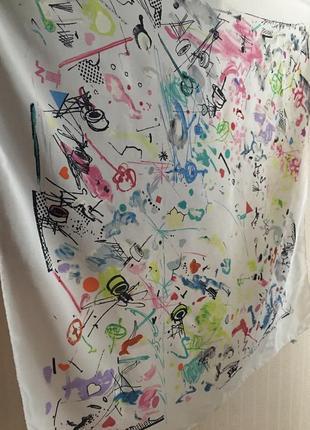 Платок из натурального шелка ручная роспись абстракция