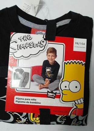 Пижама коттоновая  для мальчика кофта и штаны барт симпсон lupilu