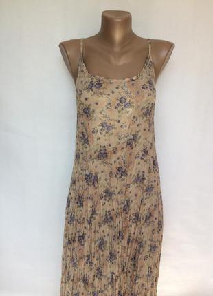 Роскошное платье плиссе,сарафан в принт m&s