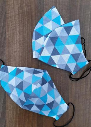 Маска хлопковая треугольники голубые