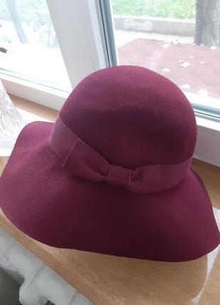 Брендовая шляпа винного цвета италия 100%шерсть