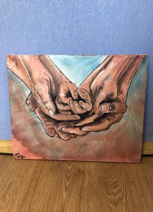 Картина на холсте акрил ручной работы акриловыми красками «семья»