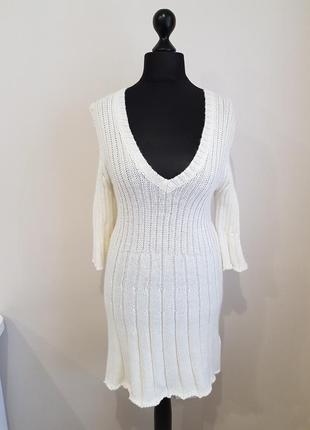 Белое вязаное платье италия