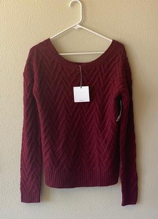 Брендовый свитер  сша рельефный с декольте лодочка (марсала) l