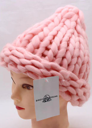 Шапка крупной вязки, вязаная шапка, шапка хельсинки розовая