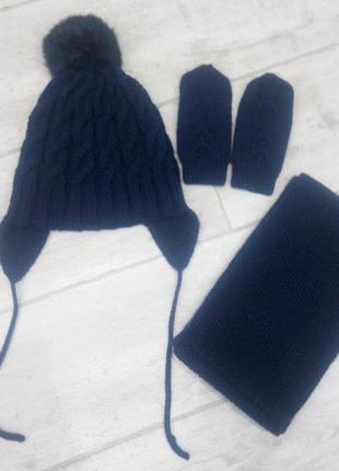 Детский набор шапка,снуд,рукавицы.ручная робота
