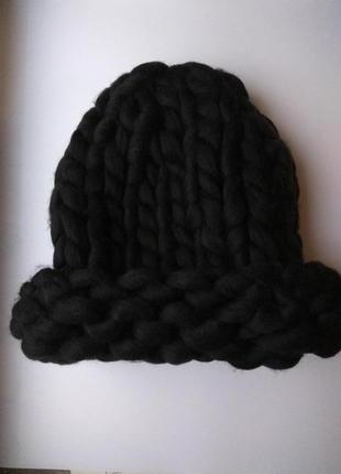 Шапка крупной вязки, вязаная шапка, черная