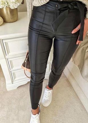 Теплые кожаные лосины, брюки, штаны, леггинсы