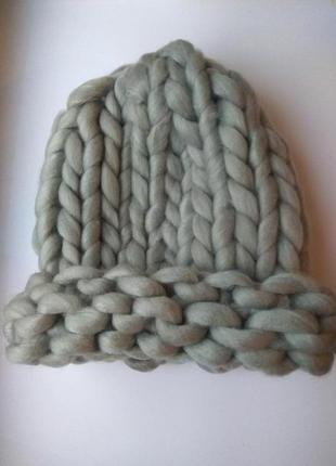 Шапка крупной вязки, вязаная шапка, светло-серая