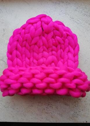 Шапка крупной вязки, вязаная шапка, розовая, wow