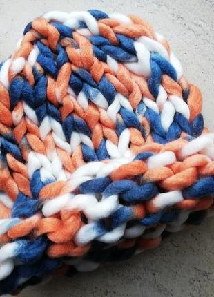 Шапка крупной вязки, вязаная шапка, разноцветная
