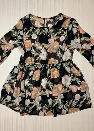 Блузка блуза туника платье в цветочек forever 21