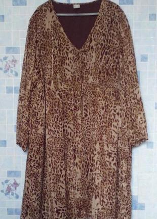 Легкое шифоновое платье, большой размер