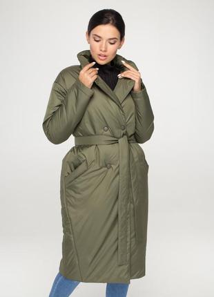 Женское демисезонное удлиненное пальто из плащевки ( хаки)
