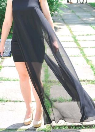 Платье вечернее черное футляр cotton