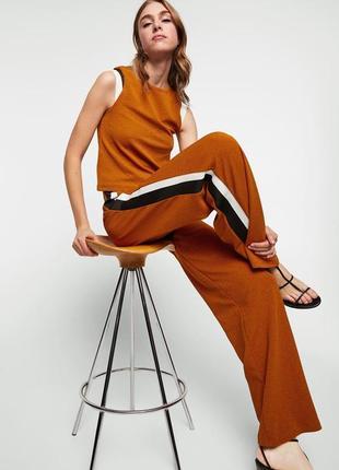 Повседневный костюм оверсайз топ брюки с лампасами высокая посадка zara в идеале
