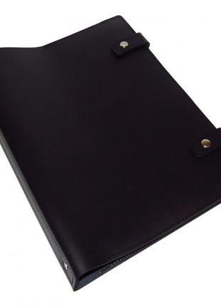Папка скоросшиватель кожаная черная для документов органайзер