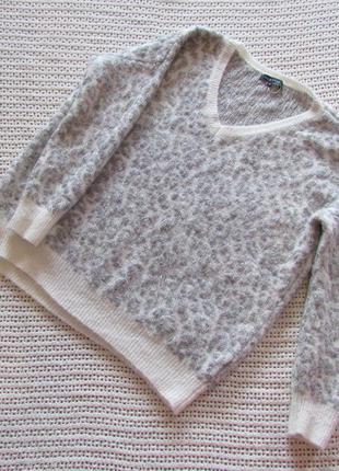 Пушистый и мягкий, свободный пуловер new look, акрил, расцветка под снежного барса
