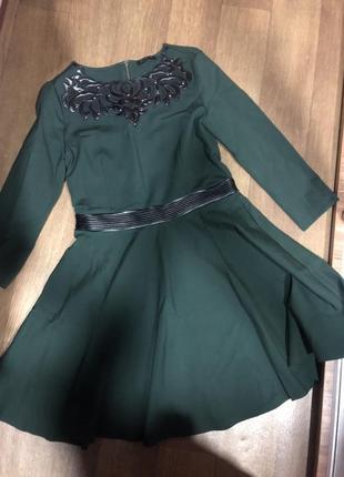 Платье шикарное с кожаными вставками