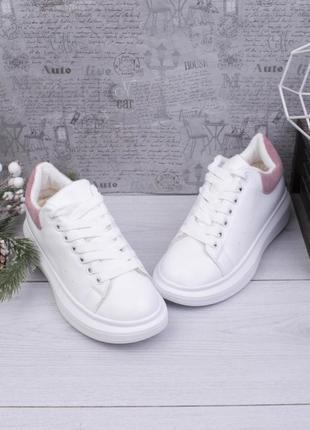 Стильные белые зимние кроссовки на платформе меху кеды криперы
