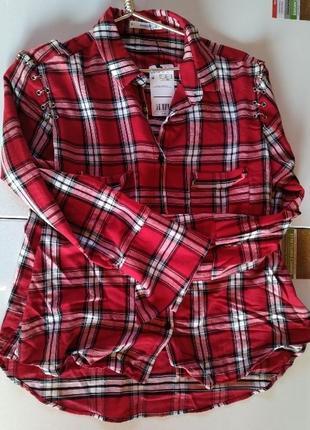 Красная рубашка в клетку mango