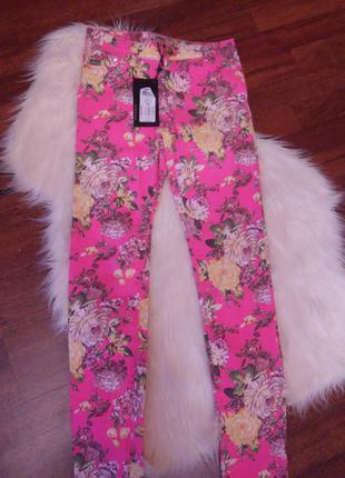 Распродажа яркие брюки с цветами