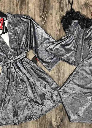 Набор халат+майка+штаны, велюровый комплект тройка.