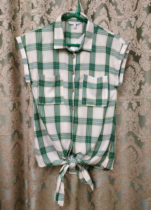 Рубашка блузка на завязках next petite топ в клетку