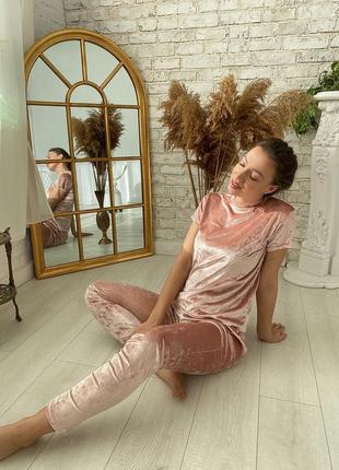 Домашний комплект, штаны и футболка, розовый