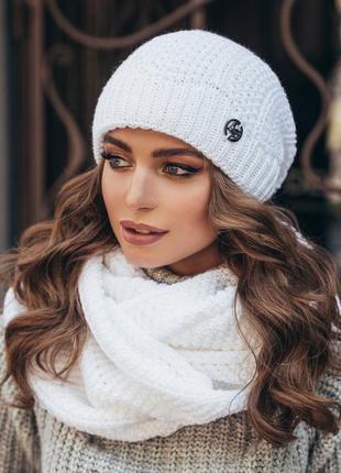 Теплий в'язаний жіночий комплект: шапка і снуд