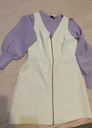 Стильное платье сарафан жилет с необработанными краями