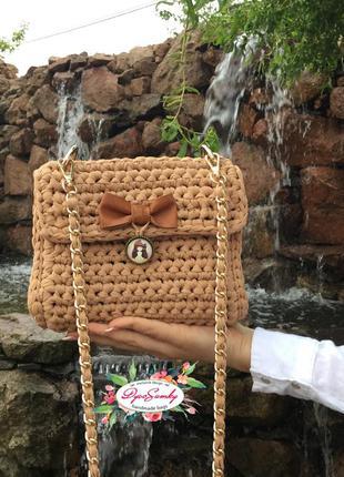 Vip стильная бежевая сумка через плечо на цепочке