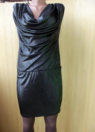 Облегающее серебристое чёрное вечернее нарядное   платье rare s/m l