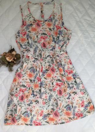 Стильное шифоновое платье цветочный принт в цветы летнее m\l