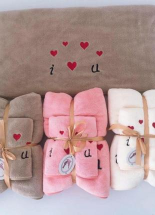 """Подарочный набор полотенец красиво упакован """"l♥️u"""""""