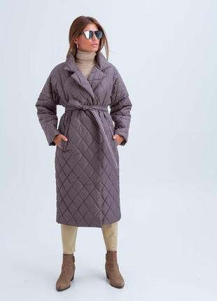 Стеганое пальто-халат на осень-зиму