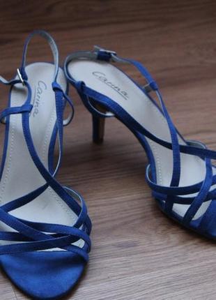 Синие замшевые сандали электрик, изысканные