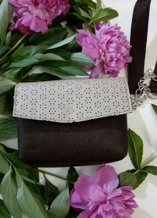 Sale коричневая сумка из фетра и кожи