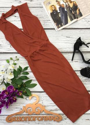 Шикарное платье миди с глубоким декольте и чокером    dr2407    missguided