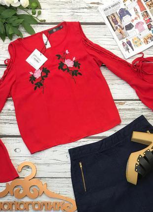 Ультрамодная блуза с вышивкой и рукавами-колоколами на шнуровке    sh2430    missguided