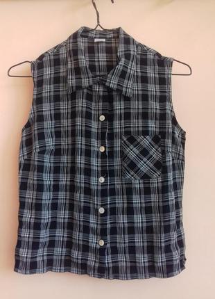 Крутая черно-белая рубашка-безрукавка в клетку укороченная рубашка-майка