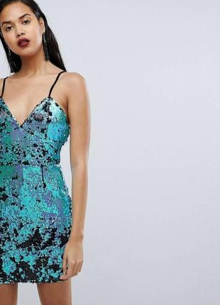 Asos pretty little thing платье пайетки новый год вечеринка