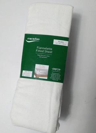 Простынь коттоновая белая на резинке 140-160×200 meradiso