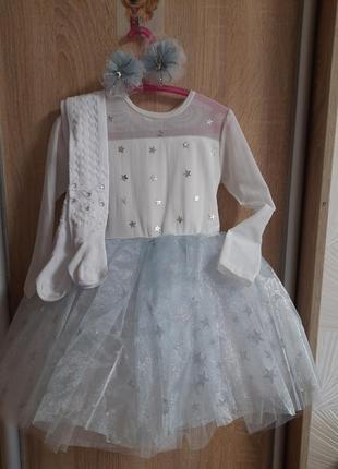 Платье снежинки на утренник новый год костюм для девочки в сад садик набор комплект