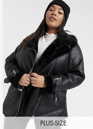 В наличии! тёплая куртка авиатор с мехом на молнии, дубленка asos батал